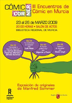 Cartel de Cómic Corner 2009. Diseño de Juan Álvarez y A2 Comunicación